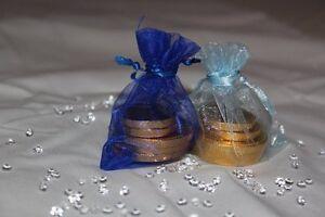 10 x ROYAL BLUE & LIGHT blue ORGANZA BAGS WEDDING TABLE DECORATION 7cm x 9cm