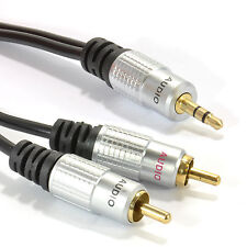 2m Pro Audio Metal 3.5mm Stereo Jack to 2 RCA Phono Plugs Cable Gold [006941]