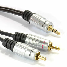 2m pro audio métal jack stéréo 3,5 mm à 2 rca phono plugs cable gold [ 006941 ]