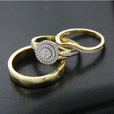 14K Yellow Gold Over His & Hers Diamond Trio Set Bridal Engagement Wedding Ring