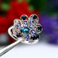 NATURAL LONDON BLUE TOPAZ TANZANITE SAPPHIRE & CZ RING 925 STERLING SILVER