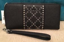 NWT Michael Kors Black Travel Continental Leather Full size Zip Wallet w/bling