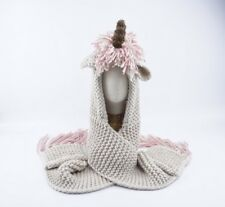 Crochet Unicorn Winter Hat Scarf Hooded Knit Beanie Cosplay Photography Prop