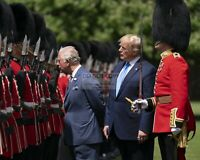 DONALD TRUMP INSPECTS THE GUARD OF HONOR WITH PRINCE CHARLES  8X10 PHOTO (SP078)