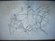 GRAVURE 1880 AGRICULTURE PLAN  IRRIGATIONS A L'AIDE DES EAUX D'ÉGOUT PARIS