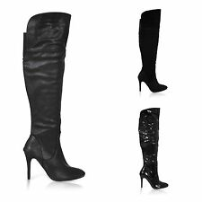 Women's 100% Leather Zip Knee High Boots