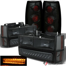 For 88-93 Chevy/GMC C/K Smoked Headlights LED Bumper + Black Smoked Tail Lights