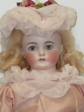 "18"" Antique German CM Dome Head Doll, Kid Body, Hand Made Mohair Wig Glass Eyes"