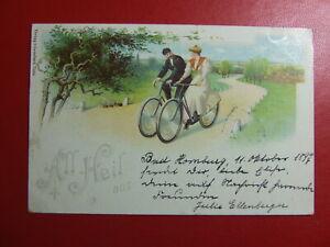AK Ansichtskarte Postkarte, All Heil, Frau auf Fahrrad, Litho Bad Hornburg 1897