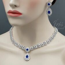 Sapphire Blue Cubic Zirconia Necklace Earrings Wedding Bridal Jewelry Set 89 WGP
