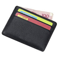 Mens Leather Ultra Slim Mini Credit Id Card Note Case Wallet Money Holder NEW