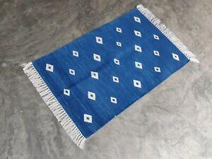 Cotton Yoga Diamond Rug Rag 2x3 Handwoven Kilim Flat Weave Prayer Yoga Dhurrie