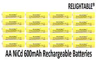 20 AA Rechargeable Batteries NiCd 600mAh 1.2v by RELIGHTABLE Solar Light LED A20