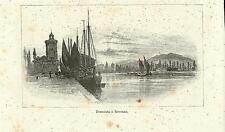 Stampa antica RAVENNA Veduta canale al tramonto Romagna 1892 Old antique print