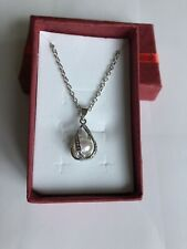 Silver Twisted Tear Drop Pearl Cage With 18'' silver Chain & Oyster With 1 Pearl