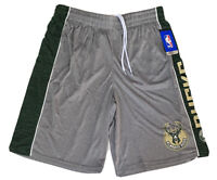 UNK NBA Milwaukee Bucks Mens Active Shorts Large Gray Grn Pockets Fear The Deer