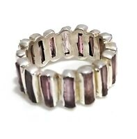 Pink Tourmaline Natural Gemstone Handmade 925 Sterling Silver Ring Size 7