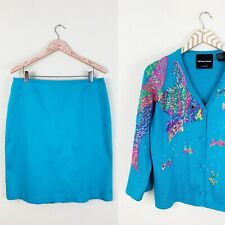 Michael Simon Women's Silk Cardigan + Skirt Set Large 14 Fish Sequined Blue