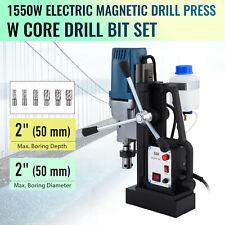 1550w Compact Magnetic Drill Press With6 Core Drill Bits 2 Inch Boring Diameter