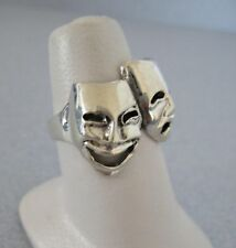 Mexico 925 Silver Taxco Comedy Tragedy Drama Theater Double Mask Actor Ring 6.75