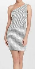 Cynthia Steffe Dress Sz 10 White Black Striped One Shoulder Wiggle Cocktail Wear