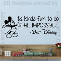 Disney Mickey It's Kind Of Fun To Do Impossibe Wall Quote Vinyl Wall Decal