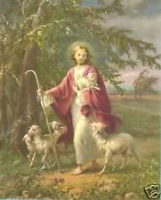 "Catholic Print Picture JESUS the Good Shepherd  Simeone art 8x10"" ready to frame"