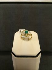 Elegant 14K Yellow Gold Ring With Emerald And Diamonds