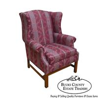 Ethan Allen Chippendale Style Cherry Clean Upholstered Wing Chair