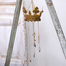 Shabby Cottage Chic Vintage Style Gold Crown Photo Hanger Home Decor Decoration