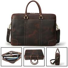 """Vintage Real Leather Briefcases For Men Business 17"""" Laptop Shoulder Bag Satchel"""