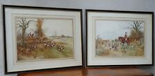 Antique Water Colours Hunting & Hounds Signed by Artist W J Morby 1860 - 1911