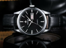 Mens Elegant Quartz Watch Genuine Leather Strap With Day And Date - Silver Black