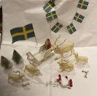5 Vtg celluloid reindeer, Sleigh, Santa, 2 Bottle Brush Trees- Antique - Scene