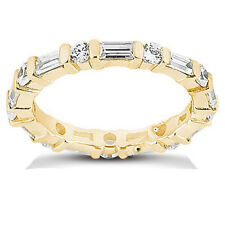 2.01 ct total Round & Baguette Diamond Eternity Band 14k Yellow Gold Ring
