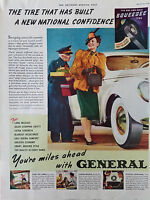 1939 Vintage General Tire Tires Woman Fur Coat and Hat Color Original Ad