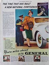 1939 Vintage General Tire Tires Woman Fur Coat and Hat Color Original Ad