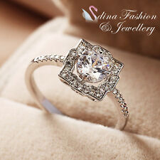 18K White Gold Plated Simulated Diamond Round Cut 0.5 ct Silver Engagement Ring