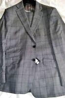 $1.4k NWT Thomas Pink London 40 eu50 R Gray box check SLIM wool suit w/ Tkt pkt
