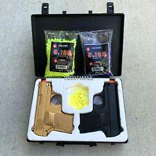 Airsoft Gun Pistols Spring Black n Gold Combo Set w/ Plastic Case free 2000BB