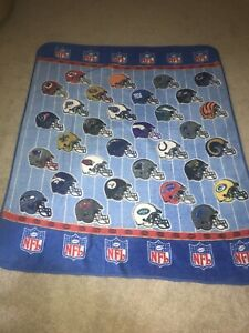 vintage HELMETS STYLE BLUE TEAMS Fleece NFL Blanket Throw