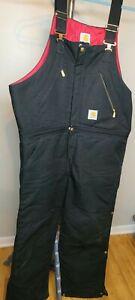 Carhartt R38 Black Duck Zip-to-Waist Bib Overall Quilt Lined Size 40X30