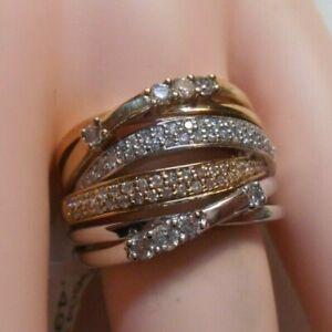 1 ct Diamond 14K White & Yellow Gold Criss-Cross Ring Size 8 NEW W/ TAGS $1,499.