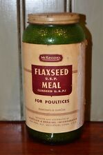 Vtg McKesson's Green Glass bottle FLAXSEED MEAL For Poultices Almost Full 6.5""