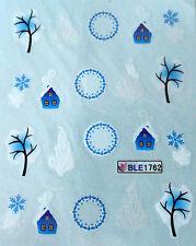 Nail art stickers décalcomanie: Flocons de neige - arbres - maisons - sapins