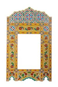 Moroccan farmhouse Yellow hanging mirror frame, decor of wood, hand-painted