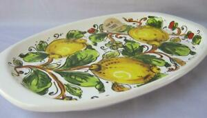 Italian Ceramic Porcelain Oval Serving Tray Lemons Made in Italy Nova Deruta