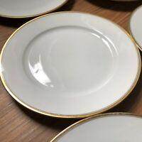 VTG THOMAS BAVARIA 599 WHITE with Gold Band & Verge Smooth Salad Plates set of 6