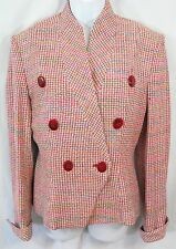 Vintage CHRISTIAN DIOR Size 4 Multi Color Tweed Double Breasted Jacket Blazer
