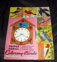 VTG 1946 Triple Thrill Coloring Birds UNUSED NOVELTY BOOK, MECHANICAL PAPER TOY
